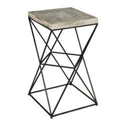 """Regina Andrew - Regina Andrew Isosceles Table - Industrial drama defines the Regina Andrew Isosceles table's bold design. Intriguing and unique, this furnishing's triangular metal frame rises to support a solid top for visual allure. 16""""W x 16""""D x 26.5""""H"""