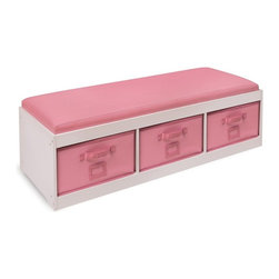 Badger Basket - Badger Basket Kids Storage Bench with Cushion & 3 Bins - White/Pink - 90900 - Shop for Childrens Chairs from Hayneedle.com! Organize your child's room while also giving her a place to read put on her shoes or sit and talk with friends with the Badger Basket Kids Storage Bench with Cushion & 3 Bins - White/Pink. Featuring a classic non-toxic white finish with beautiful pink bins and cushion this storage bench is sure to delight. The cushions and bins are covered in faux leather which is durable and easy to clean with mild soap and water. Recommended ages 3-12 years. Bench dimensions: 45.25L x 15.75W x 13.75H inches. Bin dimensions: 14W x 15D x 7.5H inches. Designed to make cleaning and organizing simple for your child each bin has a card holder so it can be labeled as well as a handle which makes it easy for even small hands to pull and out. The bins are also on wide rails allowing the bins to slide in and out smoothly. Made with reinforced binding on all edges you can also use these bins elsewhere in the house or fold them down and store them. A solid back panel prevents the bins from sliding all the way through the bench and makes sure everything doesn't come tumbling out. With a comfortable cushion secured to the top your child will love having their own private place to sit and read or journal. The top of this storage bench lifts up like a lid so you can easily see inside each of the baskets all at once and can make cleaning up even easier. Able to support up to 200 lbs. you can even use this bench in a playroom or in a shared room. Easy to clean with mild soap and water you'll have no problem keeping your child's room and this bench looking neat and tidy. Additional Features Helps to organize your child's room Sized for children to easily use Card holders allow you to label the bins Bins feature a handle for easy use Bins are reinforced with binding on all edges Bins can be removed for use elsewhere Bins fold down for easy storage Back panel prev