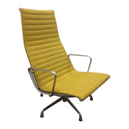"""Pre-owned Eames Aluminum Group Lounge Chair - Eames Aluminum Group lounge chair in almost brand new condition...only faint blemish on seat cushion...this Eames classic works beautifully in any environment.  The attached head cushion can be flipped behind.  Maharam Messenger fabric in Chartreuse.      There are 2 chairs available and 1 matching ottoman. This listing is for one chair. Please contact support@chairish.com for more information.    Height from floor to seat is 14.75""""  Overall chair footprint depth is 32.5"""""""
