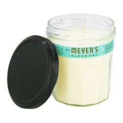 Mrs Meyers - Mrs. Meyer's Clean Day Soy Candle 7.2 oz, Basil - Mrs. Meyers Clean Day Soy Candles add an irresistable aroma to your home without any of the hassle or worry over synthetics or chemicals often present in other scented candles. The candle itself is vegetable based (primarily soy wax and essential oils), and the wick is made from unbleached cotton with a paper core. No more worries over any harmful chemicals or additives coming up into the air along with the scent and smoke, these candles are 100% natural. Each candle also comes in a recycled jam jar, which can be used for a variety of activities after the candle has burned all the way through.