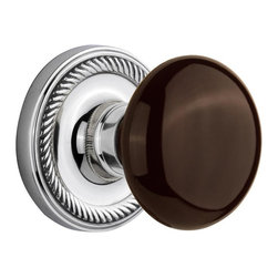 Nostalgic - Nostalgic Passage-Rope Rose-Brown Porcelain Knob-Bright Chrome (NW-710470) - Blending rich detail and subdued refinement, the Rope Rosette in bright chrome captures a style that has been a favorite for centuries. Adding our rich, Brown Porcelain knob only serves to compliment the warm, earthen hues in your home. All Nostalgic Warehouse knobs are mounted on a solid (not plated) forged brass base for durability and beauty.