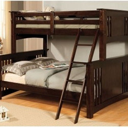 Furniture of America Mission Style Twin over Full Bunk Bed - The Furniture of America Mission Style Twin over Full Bunk Bed brings the simple design aesthetic of the Mission Style line to a unique bunk bed pairing. The different sized beds make for a nice offset. And the confident straight lines bring a bold confidence to your child's room.About Furniture of America Based in California, Furniture of America has established itself as a premier provider of fine home furnishings. The people behind Furniture of America brand are moved by passion, hard work, and persistence. They are always striving to design the latest piece, keeping in mind their mission to make quality furniture available to urban-minded shoppers, without compromising the packaging integrity.Furniture of America offers unique, coordinated, and affordably designed furniture; they are a one-step resource for high-quality furniture with secure and professional packaging in the furniture industry.
