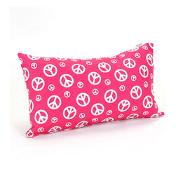 Majestic Home - Indoor Hot Pink Peace Small Pillow - Give peace a chance in your design scheme. Simply toss this groovy cotton twill pillow into the mix of your favorite setting — it'll add a bit of pop to your sofa and send a way cool message too.