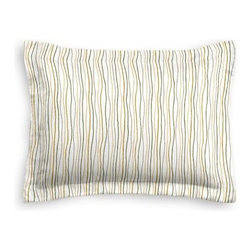 Tan & Brown Wavy Lines Custom Sham - The Simple Sham may be basic, but it won't be boring!  Layer these luxurious reversible shams in various styles for a bed you'll want to fall right into. We love it in this modern wavy lined stripe in gold, brown and gray.  A hint of playfulness to liven up any space.