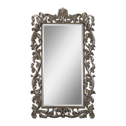 Uttermost - Molise Large Silver Mirror - This ornate, stately mirror is the most gorgeous of them all. The oversize frame is lightly antiqued with silver leaf and the mirror has a generous bevel for depth and dignity. It will reflect your impeccable taste wherever you hang it.