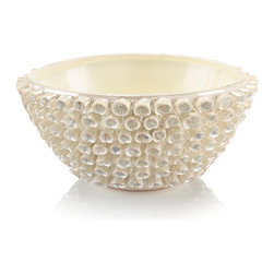 "Kathy Kuo Home - Vayle Coastal Beach White Pearlescent Ceramic Decorative Bowl - Reminiscent of the natural forms of marine life such as barnacles and tentacles, the delicate white ceramic ""curly q's"" which encase this bowl are truly unique - no two bowls are identical."