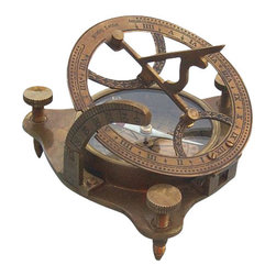 "Antique Patina Brass Sundial/Magnetic Compass w/ Hardwood Case - The top of the sundial is hinged and a curved  scale is used to set your local latitude angle. The magnetic compass  allows the sundial to be oriented North. The compass features a needle    lift mechanism to protect the compass's jeweled bearing when being  transported. There are three adjustable legs that are used to precisely  level the sundial. The sun's shadow cast by the sundial's vane marks the  local time. The top of the sundial can lay down flat, and both the    latitude scale and the sundial vane are hinged to lay flat for compact  storage. The sundial measures 4 1/2 inches (11.4 cm) tall, 2 inches (5.1    cm) tall when collapsed, the body of the compass is 2 7/8 inches (7.3 cm)  in diameter, and the sundial weighs 14 ounces (397 grams). The sundial  compass has a antique brass patina finish. A beautiful hardwood case is    included for display and storage of the brass sundial. The hardwood case  measures about 5.5"" square."