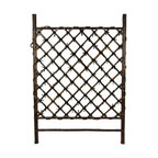 Oriental Furniture - Japanese Garden Style Wood & Bamboo Trellis - A beautiful hand crafted wood and bamboo accessory, most often used in Japanese style indoor garden areas as well as outdoor areas sheltered from the elements. It's about the same width as an interior door; about three and a half feet tall. It's crafted from high quality, kiln dried wood and whole bamboo pole. This is a beautifully made trellis, great for a barrier in an indoor or covered garden, or to grow vines against a wall, under an eaves. With an attractive, rustic, dark colored wood frame and bleached bamboo pole lattice.