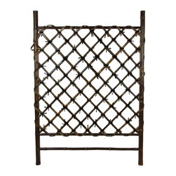 Oriental Furniture - Japanese Garden Style Wood and Bamboo Trellis - A beautiful hand crafted wood and bamboo accessory, most often used in Japanese style indoor garden areas as well as outdoor areas sheltered from the elements. It's about the same width as an interior door; about three and a half feet tall. It's crafted from high quality, kiln dried wood and whole bamboo pole. This is a beautifully made trellis, great for a barrier in an indoor or covered garden, or to grow vines against a wall, under an eaves. With an attractive, rustic, dark colored wood frame and bleached bamboo pole lattice.