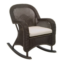 Frontgate - Classic Wicker Plantation Outdoor Rocker with Cushions, Patio Furniture - Ideal for any environment, including oceanfront and saltwater destinations. Seat and back are hand-woven from high-quality resin, an exceptionally durable all-weather material that is specially formulated to resist fading. Hand-welded aluminum alloy frame is finished with a durable baked-on polyester powder coating to protect against the elements. Diamond-back weave design, sturdy braided frame, and ball feet with permanent nylon foot glides. Cushions feature exclusive solution-dyed fabrics, created using only the finest materials and technology for longevity outdoors, including Sunbrella&reg. The Classic Wicker Plantation Rocker by Summer Classics&reg offers the vintage look of traditinoal wicker, updated with the durability of all-weather high-quality resin wicker materials. This wicker rocker is a perfect addition to any outdoor setting including beach and salt water environments. Frame is generously proportioned to accomodate the included plush, all-weather cushions. Choose from an assortment of high performance outdoor fabrics, including Sunbrella&reg for year-round enjoyment.Part of the Classic Wicker by Summer Classics&reg Collection. . . . . . Black Walnut or Weathered Pebble finish . View assembly instructions (PDF format)Note: Due to the custom-made nature of the cushions, any fabric changes or cancellations made to the Classic Wicker Collection by Summer Classics&reg must be made within 24 hours of ordering.