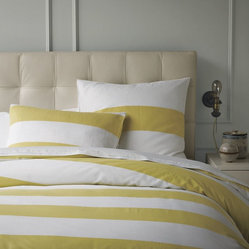 Stripe Duvet Cover + Shams, White/Citron
