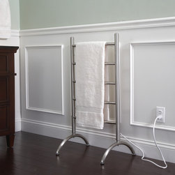 Sheffield Home - Sheffield Home Free Standing / Wall Mounted Towel Warmer (Brushed Nickel) - The Sheffield Home Towel Warmer is a great way to have perfectly warmed dry towels every time. You can mount it to the wall or set up as a free standing towel rack/warmer. Sheffield Home towel warmer and drying rack is ideal for bathrooms-or for any other room in the home. Thanks to its versatile design you can use it as a freestanding or wall mounted unit. Dry dedicates in the laundry room, warm blankets in the bedroom, and more. Also helps eliminate mold and mildew growth. Electric towel warmers use very little energy which makes them excellent for keeping towels warm around the clock and is designed to run continuously. Unit plugs into the wall and is durable and space-efficient. No wiring or plumbing is needed; reaching optimum temperature within 30 minutes. It is recommended you leave towels on the towel rack overnight before initial use. Plugs into a standard 110-120V outlet.  Minimal assembly required.