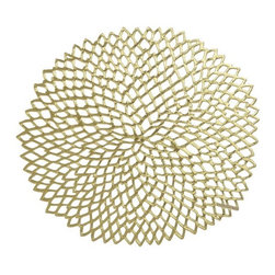 Dahlia Gold Placemat - I'd use a grouping of these hung on a wall for an art installation. Or I'd use the beautiful dahlia design as it was intended: a modern place setting.