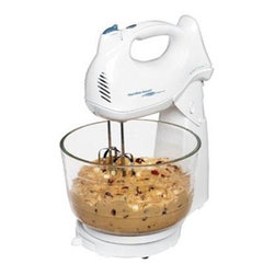 Hamilton Beach - Deluxe Stand/Hand Mixer - This Hamilton Beach Power Deluxe Stand Mixer with six speeds and QuickBurst button makes mixing easy with 275 Watts of peak power. It has a 4 Qt. glass Shift & Stir bowl and comes with beaters, whisk and dough hooks. Plus, it doubles as a hand mixer with Bowl Rest stabilizer.