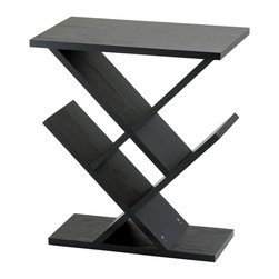 "Adesso Inc. - Zig Zag Accent Table - MDF wood with black wood grain veneer. Storage/display areas are  8"" deep and may be used for CD""s, DVD""s or knick-knacks.  19"" Width, 12"" Depth,  21.5"" Height."