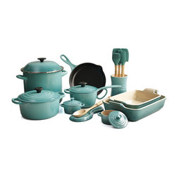 Le Creuset - Le Creuset 19 Piece Cook and Bakeware Set, Caribbean - Prepare a gourmet meal for the whole family with this Le Creuset 19 piece cook and bakeware set that blends colorful design with impeccable functionality and versatility. This set features the iconic enameled cast iron 3.5 quart round Dutch oven, the covered 1.75 quart saucepan, and the 9 inch skillet. For your baking pleasure, this set features a stoneware 4 quart and 2.5 quart rectangular baking dishes and two covered 8 ounce mini cocottes. Also includes a stoneware spoon rest and crock filled with the silicone and Samak wood jar scraper, small spatula, medium spatula, spatula spoon, basting brush, and a beechwood solid spoon as well.Perfect for locking in flavor and keeping foods moist and tender, each piece of enameled cast iron is made with an exterior that resists chipping and cracking. The lightest weight cast iron per quart, the signature 3.5 quart round Dutch oven is designed to enhance the cooking process by evenly distributing heat and locking in the optimal amount of moisture.
