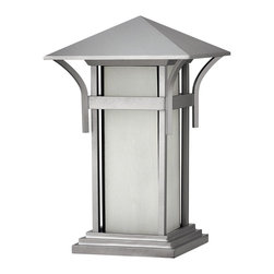 Hinkley Lighting - Hinkley Lighting 2576TT Harbor Transitional Outdoor Post Lantern Light - Harbor has an updated nautical feel, with a style inspired by the clean, strong lines of a welcoming lighthouse. The cast aluminum and brass construction is accented by bold stripes against the seedy glass.