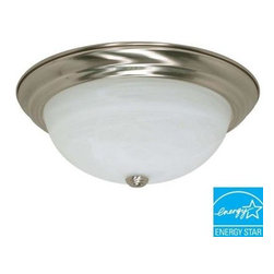 Glomar - Glomar Green Matters 3-Light Flush-Mount Brushed Nickel Dome Light Fixture HD-26 - Shop for Lighting & Fans at The Home Depot. This Glomar Green Matters 3-Light Flush-Mount Brushed Nickel Dome Light Fixture features a heavy, alabaster glass shade to evenly distribute the light produced by the 3 included CFL bulbs. This may take up to 5 days in delivery. Easy installation instructions and template enclosed for convenient setup.