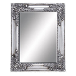 Benzara - Beveled Mirror with Charming Moldings along the Frame - Featuring a classic-styled beveled frame, this mirror features a rich silver finish while the distressed accents give a vintage, opulent look to the design. This framed beveled mirror redefines finesse and elegance with its attractive, intricately detailed design. This mirror frame features baroque style accents with floral detailing on the corners and imparts a touch of grandiose and unmatched sophistication to the design. The charming moldings along the frame lend a delicate look to the mirror and augment decor aesthetics. The distressed texture on the frame perfectly highlights the design and gives settings a charming appeal. Set in a solid wood frame, the mirror boasts of durability and long-lasting performance for ease of use. This is an elegant gifting option too which will be appreciated by recipients.
