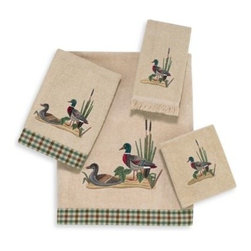 Avanti - Avanti Mallard Ducks Bath Towel in Linen - Perfect for a lodge or camp lover's bathroom, the Mallard Ducks Towel Collection brings a peaceful charm to your space. Features a lovely embroidered duck scene against a beige linen towel.