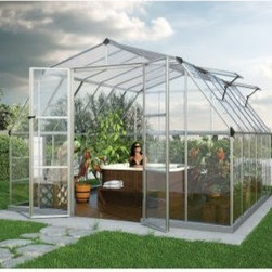 Palram Americana Silver Hobby Greenhouse - 12 x 12 ft. - If you've got a green thumb then you definitely need a greenhouse. The Palram Americana Silver Hobby Greenhouse - 12 x 12 ft. is the perfect answer to all of your gardening needs. The greenhouse is crafted with a durable aluminum frame and crystal clear polycarbonate panels four of which are adjustable for versatile ventilation. The wide high entrance features dual lockable doors and the galvanized steel base ensures lasting stability.