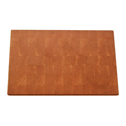 "Lone Star Artisans - Large End Grain Cherry Cutting Board - This Solid End Grain Cherry cutting board is a fairly large board that will serve you well in the kitchen or out by your grill. Cherry is the gentlest of the big three (maple, walnut, cherry) on your knife edges. Cherry has a lot of subtlety. It doesn't shout to be noticed or smack you in the face. It says, ""I'm here, and you'll appreciate me once you get to know me."" Cherry has a rich, rose hue when it is freshly sawed. Over the days and months and years, it steadily, gradually darkens. It's pretty when it's newly cut. It will be unbelievably gorgeous in 20 years.  Weight: 12lbs."