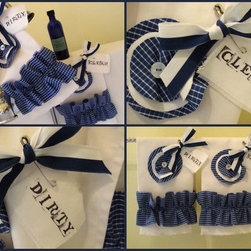 A Nautical Nod ~ Deep Sea Blue and White Cotton Tea Towels - Pretty tea towels made with 100% white cotton twill and up-cycled Pima cotton and linen dress shirts.  Each one is unique and hand made.  Ruffles vary on each towel; the millinery flowers hand stitched with a pretty mother of pearl button in the center of each.