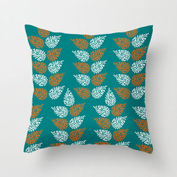 Sheaves Pillow Cover in Turquoise - Add something new to your living room with this comfortable poplin pillow cover in three fashionable color schemes. Featuring a dotted leaf pattern reminiscent of stalks of wheat, we think it would shine in a bold-hued accent chair.