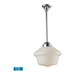 Elk Lighting - EL-69020-1-LED Schoolhouse LED 1-Light Pendant in Polished Chrome - In the early 1900�s, schoolhouses, banks, and other public institutions began using fully enclosed pendants that not only gave off an abundance of light, but were also easy to clean and maintain. The period authentic styling is reflected in the fluted or patterned white blown glass and matching hardware finished in polished chrome or antique brass. These exclusive pendants exemplify the uncompromising historic styling. - LED offering up to 800 lumens (60 watt equivalent) with full range dimming. Includes an easily replaceable LED bulb (120V).