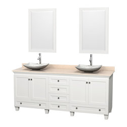 """Wyndham Collection - 80"""" Acclaim White Double Vanity w/ Ivory Marble Top & White Carrera Marble Sink - Sublimely linking traditional and modern design aesthetics, and part of the exclusive Wyndham Collection Designer Series by Christopher Grubb, the Acclaim Vanity is at home in almost every bathroom decor. This solid oak vanity blends the simple lines of traditional design with modern elements like beautiful overmount sinks and brushed chrome hardware, resulting in a timeless piece of bathroom furniture. The Acclaim comes with a White Carrera or Ivory marble counter, a choice of sinks, and matching mirrors. Featuring soft close door hinges and drawer glides, you'll never hear a noisy door again! Meticulously finished with brushed chrome hardware, the attention to detail on this beautiful vanity is second to none and is sure to be envy of your friends and neighbors"""