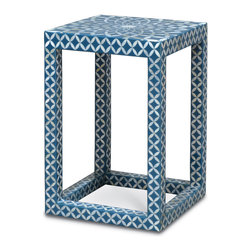 Kathy Kuo Home - Cornflower Coastal Beach Square Blue White Inlaid Shell Side Table - Classic and coastal meets floral and festive in this handcrafted blue cast stone and scallop shell mosaic. The Parson style shape creates an open, airy side table or nightstand. It can also be used as a stylish display stand in a sunroom or beach cottage.
