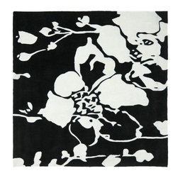 Safavieh - Country & Floral Modern Art Square 7' Square Black - Ivory Area Rug - The Modern Art area rug Collection offers an affordable assortment of Country & Floral stylings. Modern Art features a blend of natural Black - Ivory color. Hand Tufted of Polyester the Modern Art Collection is an intriguing compliment to any decor.
