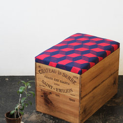 Upcycled Double-Height Wine Box Ottoman by Made Anew Shop - An ottoman made from an old wine box? Yes, please! I love the pattern of the upholstery on top too.