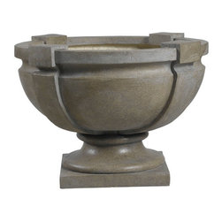 Kenroy Home - Kenroy 60075 Square Strap Urn - Garden - With wonderful shape and texture, this large strap urn combines fired earth and rustic simplicity in a dark tuscan earth finish.   Indoors or out, this decorative ornament is sure to be a welcome addition to any decor.