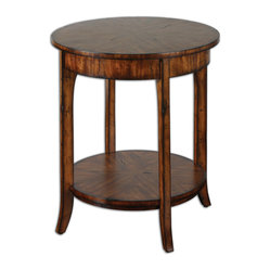 Uttermost - Carmel Round Lamp Table - The nice thing about a distressed finish on a table is that it's not distressed at all. It looks like it's had a very good life. And that's the kind of table you want in your space. This eclectic table has enough casual style that you can put it almost anywhere and the lower shelf gives you extra storage room for books or magazines