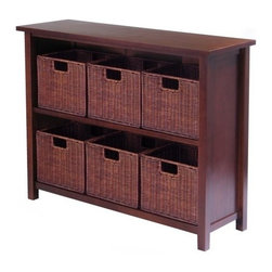 "Winsome Trading, INC. - Winsome Wood 94510 Milan Shelf Piece Decorative Storage Cabinet, Antique Walnut - Winsome's Milan open storage cabinet comes with 6 rattan baskets. Finished in a warm walnut stain, this 2 sectioned shelf is 30""H x 39""W. The baskets at 11""x10"" fit neatly on the shelves."