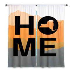 """DiaNoche Designs - Window Curtains Lined by Jackie Phillips Home New York Orange - Purchasing window curtains just got easier and better! Create a designer look to any of your living spaces with our decorative and unique """"Lined Window Curtains."""" Perfect for the living room, dining room or bedroom, these artistic curtains are an easy and inexpensive way to add color and style when decorating your home.  This is a woven poly material that filters outside light and creates a privacy barrier.  Each package includes two easy-to-hang, 3 inch diameter pole-pocket curtain panels.  The width listed is the total measurement of the two panels.  Curtain rod sold separately. Easy care, machine wash cold, tumble dry low, iron low if needed.  Printed in the USA."""