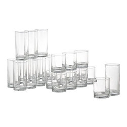 24-Piece Province Barware Set - A party in a box. Classic modern barware with straight sides, thick shams and chip-resistant rims combines a dozen coolers and a dozen double old-fashioneds for everyday use or cocktail hour.