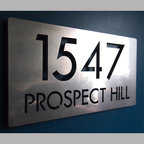 Address Plaques - CUSTOM Modern Deluxe Floating Address Sign in Stainless Steel