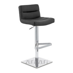 "Zuri Furniture - Black Lattice Square Base Swivel Bar Stool - The Lattice Square Base bar stool is a contemporary masterpiece. The one piece seat is superbly well padded with high density foam for high levels of comfort and is covered in soft faux leather. The seat is wide and accommodating and has an incorporated medium height backrest for extra support, making it a very relaxing place to sit. The plush seat is segmented at regular intervals by stitched grooves, resulting in a stunning effect with immense visual impact, making it an eye-catching item of furniture that will always garner interest from visiting friends or guests. A hand crafted footrest, fashioned from tubular steel and plated in chrome sits on a chrome stem, enhancing the overall look of this bar stool and giving an ideal location to place your feet. The Lattice Square Base is perfect use around the home, in a kitchen bar or breakfast bar, the Lattice Square Base is as functional as it is stylish with an adjustable height gas lift and 360 degree swivel mechanism. A large square base gives the Lattice Square Base bar Stool excellent stability and has a rubber ring beneath to protect your floor. The Lattice Square Base bar stool seat height adjusts from 22""-32"" and the back height adjusts from 30""-40"" Please Note: The Lush is a similar stool in a brushed steel finish."