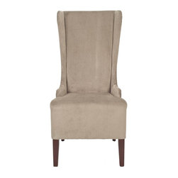 Safavieh Furniture - Oliva Bacall Velvet Mink Side Chair - Upholstered in mink faux silk velvet fabric. High and curvy back for exceptional comfort. Made from solid Birchwood. Mahogany finish. No assembly required. 27.8 in. W x 21.5 in. D x 46.9 in. H (26 lbs.)