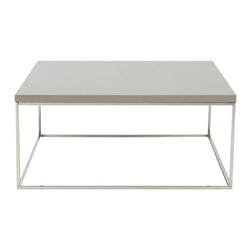 Eurostyle - Teresa Square Coffee Table-Taupe/Stainless - High gloss lacquer