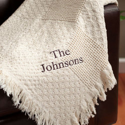 Personalized Planet - Block Font Personalized Woven Throw - Make a warm impression with this personalized cotton throw. Soft cotton ensures your comfort, while the natural color matches easily to your décor.   46'' x 60'' Cotton Machine wash Made in the USA