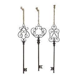 "Benzara - Key Decor in Artistic Design with Rusty Finish - Set of 3 - Key Decor in Artistic Design with Rusty Finish - Set of 3. A metal key decor is always something that will stand out as a decorative piece in any part of your home. It is available in 3 size variants - 40""H x 7""W x 2""D, 40""H x 7""W x 2""D, 40""H x 10""W x 3""D."