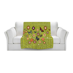 DiaNoche Designs - Throw Blanket Fleece - Sascalia Bohemian Butterflies - Original Artwork printed to an ultra soft fleece Blanket for a unique look and feel of your living room couch or bedroom space.  DiaNoche Designs uses images from artists all over the world to create Illuminated art, Canvas Art, Sheets, Pillows, Duvets, Blankets and many other items that you can print to.  Every purchase supports an artist!