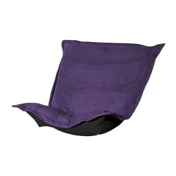 Howard Elliott Bella Eggplant Puff Chair Cushion - Totally Stylized! Extra Puff Cushions in Bella are a great way to get a new look without the expense of buying a whole new chair! Puff Cushions fit Scroll and Rocker frames. The Puff Cushion with the lush velvety texture and rich colors of Bella make this the perfect addition to any home.
