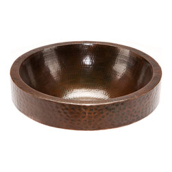"Premier Copper Products - Premier Copper Products VR17SKDB 17"" Round Skirted Vessel Hammered Copper Sink - Uncompromising quality, beauty, and functionality make up this Premier Round Vessel Style Bathroom Sink With Skirted Rim."