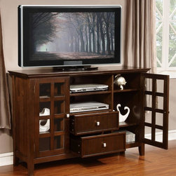 Simpli Home - Tall TV Stand in Tobacco Brown Finish - Large central top open area. Two centrally located drawers and side cabinets. Plenty of space for all types of media and gaming components. Central open area with one adjustable shelf and two drawers. Each cabinet with two adjustable shelves. Cord management cutouts for easy installation of TV and media components. Grooved door and drawer panels. Rounded square brushed nickel hardware and elegantly tapered feet. Warranty: One year limited manufacturer. Made from solid plantation grown wood. Made in Vietnam. Assembly required. 53 in. W x 17 in. D x 35 in. H (84 lbs.)Complete your living room with the simple elegance of the Acadian Tall TV Stand. The contemporary rustic styling of the Acadian Collection complements and completes any living or great room setting with handsome crown molding along the top.