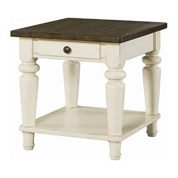 Hammary - Hammary Heartland 1-Drawer End Table with Smoky Brown Top - Rectangular 1-Drawer End Table with Smoky Brown Top and Time-Worn Painted Base Belongs to Heartland Collection by Hammary