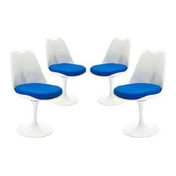 """LexMod - Lippa Dining Side Chair Set of 4 in Blue - Lippa Dining Side Chair Set of 4 in Blue - The Lippa Side Chair adds the perfect modern classic touch to any dinning space. Sturdy, easy to clean and lovely to behold, these chairs elevate a meal to whole new levels of enjoyment. Available in an array of colors, the Lippa Chair makes it easy to express your individual style. Set Includes: Four - Lippa Side Chair ABS Plastic Seat, Aluminum Base, Cloth Cushions Overall Product Dimensions: 21""""L x 20""""W x 32.2""""H Seat Height: 19""""H - Mid Century Modern Furniture."""